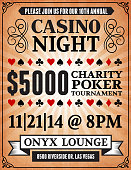 Poker Charity Tournament Poster on royalty free vector Background