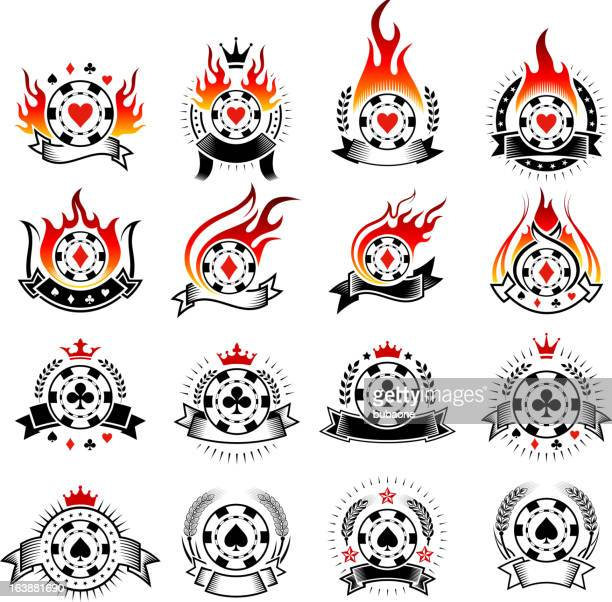 Poker Chip Badges with Fire black and white icon set