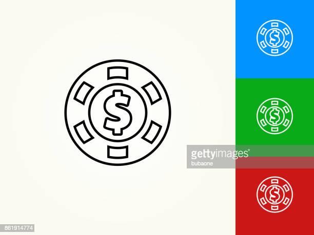 Poker Chip Black Stroke Linear Icon
