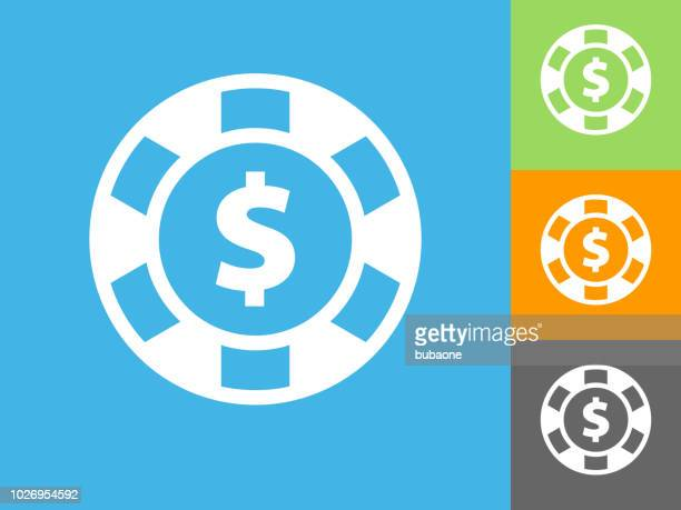 Poker Chip Flat Icon on Blue Background