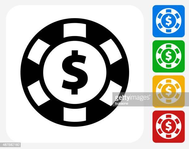 Poker Chip Icon Flat Graphic Design