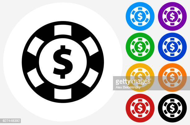 Poker Chip Icon on Flat Color Circle Buttons