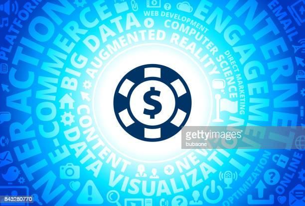 Poker Chip Icon on Internet Modern Technology Words Background