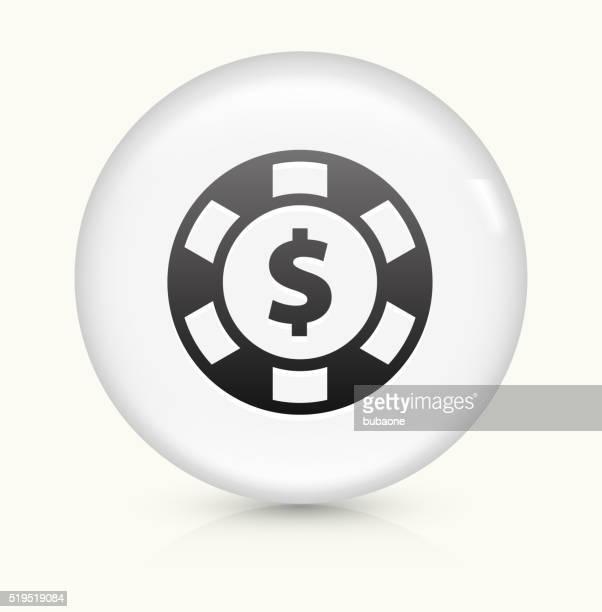 Poker Chip icon on white round vector button