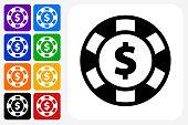 Poker Chip Icon Square Button Set