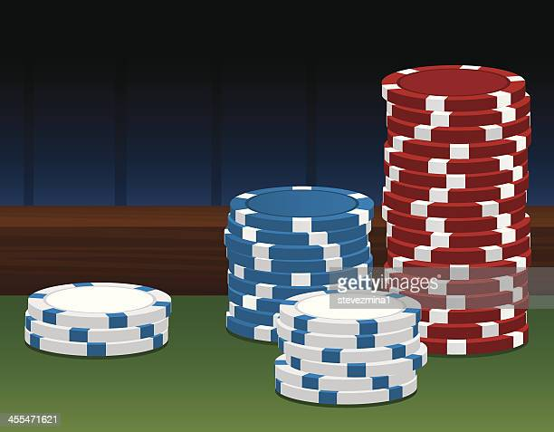 Poker chips for use in a poker tournament.
