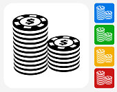 Poker Chips Icon Flat Graphic Design