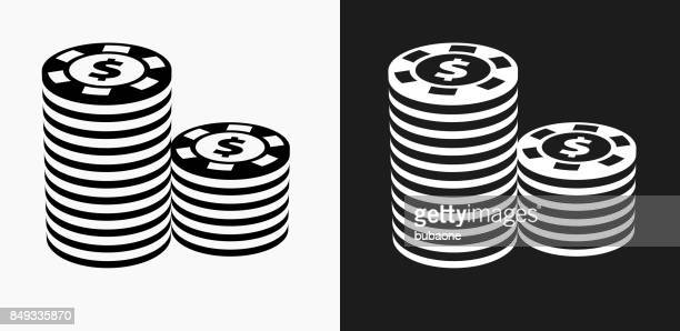 Poker Chips Icon on Black and White Vector Backgrounds