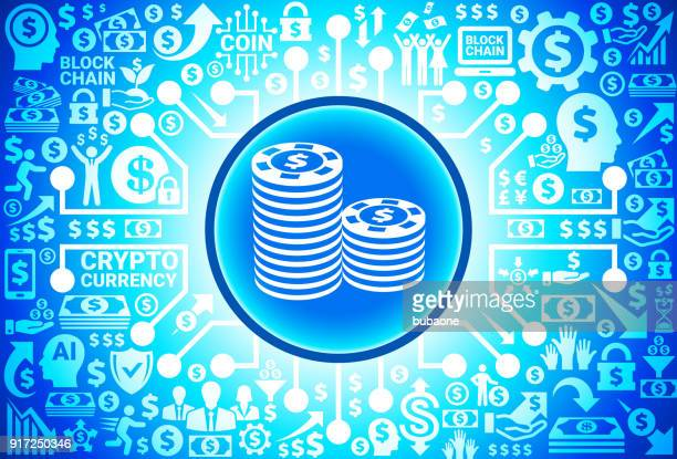 Poker Chips Icon on Money and Cryptocurrency Background