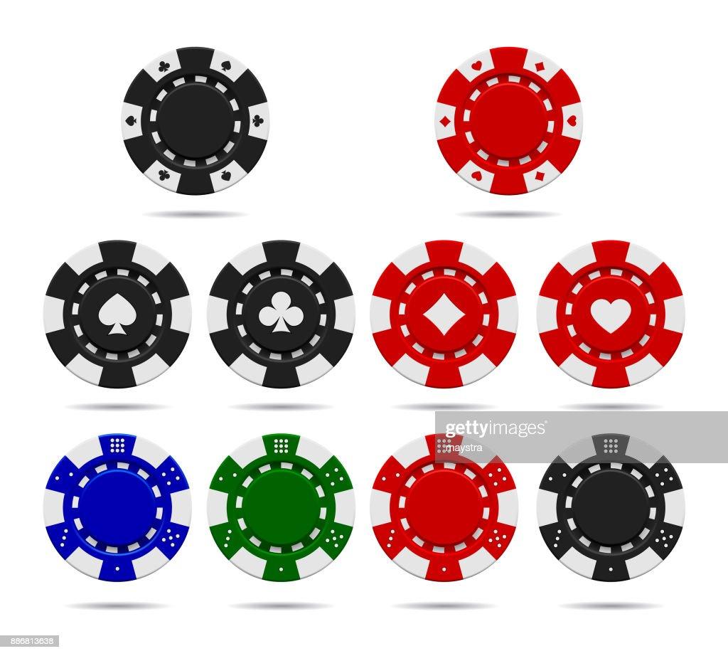 Poker chips set isolated on white background