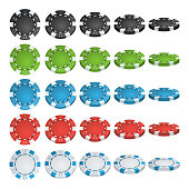 Poker Chips Vector. 3D Realistic Set. Colored Poker Game Chips Sign Isolated On White Background. Flip Different Angles. White, Red, Black, Blue, Green Casino Chips Illustration