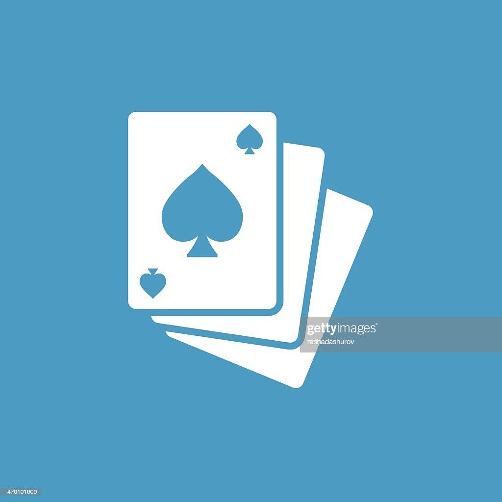 poker icon, white on the blue background