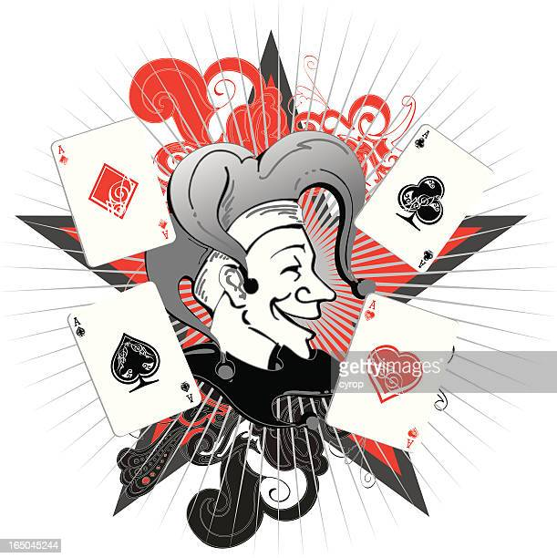 poker joker - joker card stock illustrations, clip art, cartoons, & icons