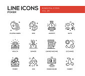 Poker - line design icons set