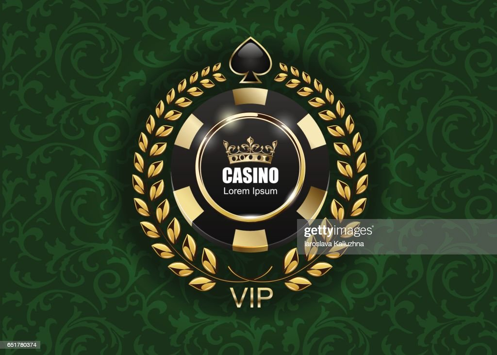 Vip Poker Luxury Black And Golden Chip Vector Casino Logo Concept Royal Poker Club Emblem With Crown Laurel Wreath And Spade On Green Floral Pattern Cloth Background High Res Vector Graphic Getty