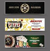 VIP poker luxury horizontal web banner set. Chip stack vector online casino text club golden logo concept. Royal poker card, roulette, dice. Slot machine, falling golden coins jackpot