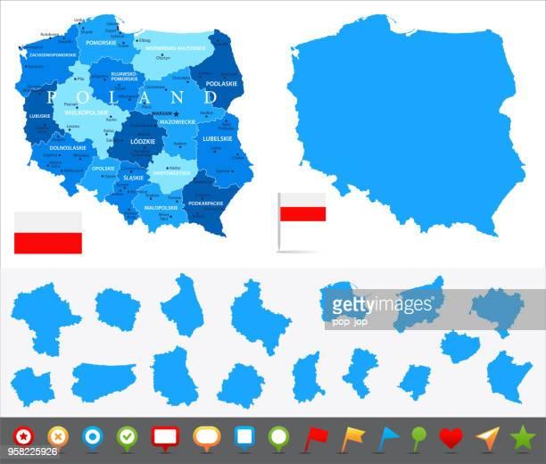 29 - polen - blau-10 stück - polnische flagge stock-grafiken, -clipart, -cartoons und -symbole