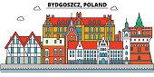 Poland, Bydgoszcz. City skyline, architecture, buildings, streets, silhouette, landscape, panorama, landmarks. Editable strokes. Flat design line vector illustration concept. Isolated icons set