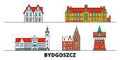 Poland, Bydgoszcz flat landmarks vector illustration. Poland, Bydgoszcz line city with famous travel sights, skyline, design.