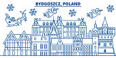 Poland, Bydgoszcz winter city skyline. Merry Christmas, Happy New Year decorated banner with Santa Claus.Winter greeting line card.Flat, outline vector.Linear christmas snow illustration