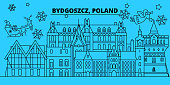 Poland, Bydgoszcz winter holidays skyline. Merry Christmas, Happy New Year decorated banner with Santa Claus.Poland, Bydgoszcz linear christmas city vector flat illustration