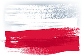 Poland colorful brush strokes painted flag