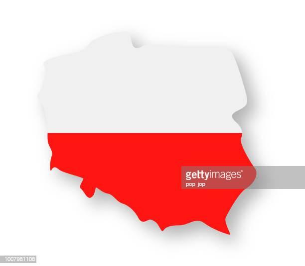 polen - kontur land vektor flache flaggensymbol - polnische flagge stock-grafiken, -clipart, -cartoons und -symbole