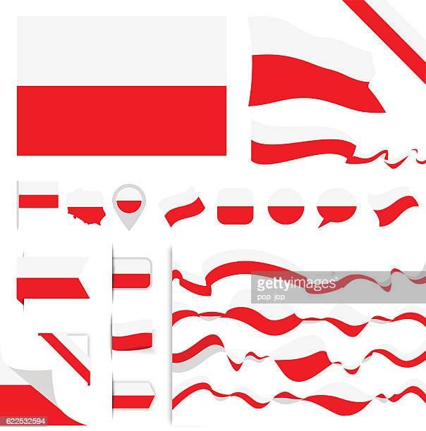 polen flagge set - polnische flagge stock-grafiken, -clipart, -cartoons und -symbole