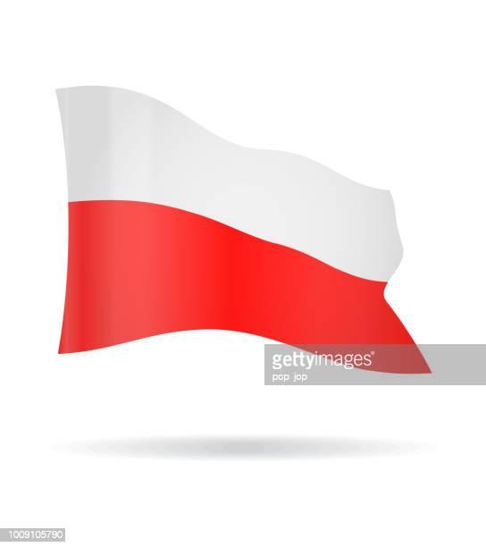 polen - flying banner fahne vektor glossy icon - polnische flagge stock-grafiken, -clipart, -cartoons und -symbole