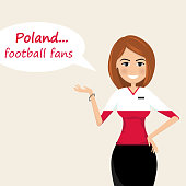 Poland football fans.Cheerful soccer fans, sports images.Young woman,Pretty girl sign.Happy fans are cheering for their team.Vector illustration