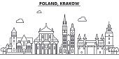Poland, Krakow architecture line skyline illustration. Linear vector cityscape with famous landmarks, city sights, design icons. Landscape wtih editable strokes