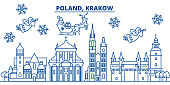 Poland, Krakow winter city skyline. Merry Christmas, Happy New Year decorated banner with Santa Claus.Winter greeting line card.Flat, outline vector.Linear christmas snow illustration