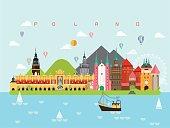 Poland Landmarks Travel and Journey Vector