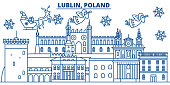 Poland, Lublin winter city skyline. Merry Christmas, Happy New Year decorated banner with Santa Claus.Winter greeting line card.Flat, outline vector.Linear christmas snow illustration