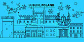 Poland, Lublin winter holidays skyline. Merry Christmas, Happy New Year decorated banner with Santa Claus.Poland, Lublin linear christmas city vector flat illustration