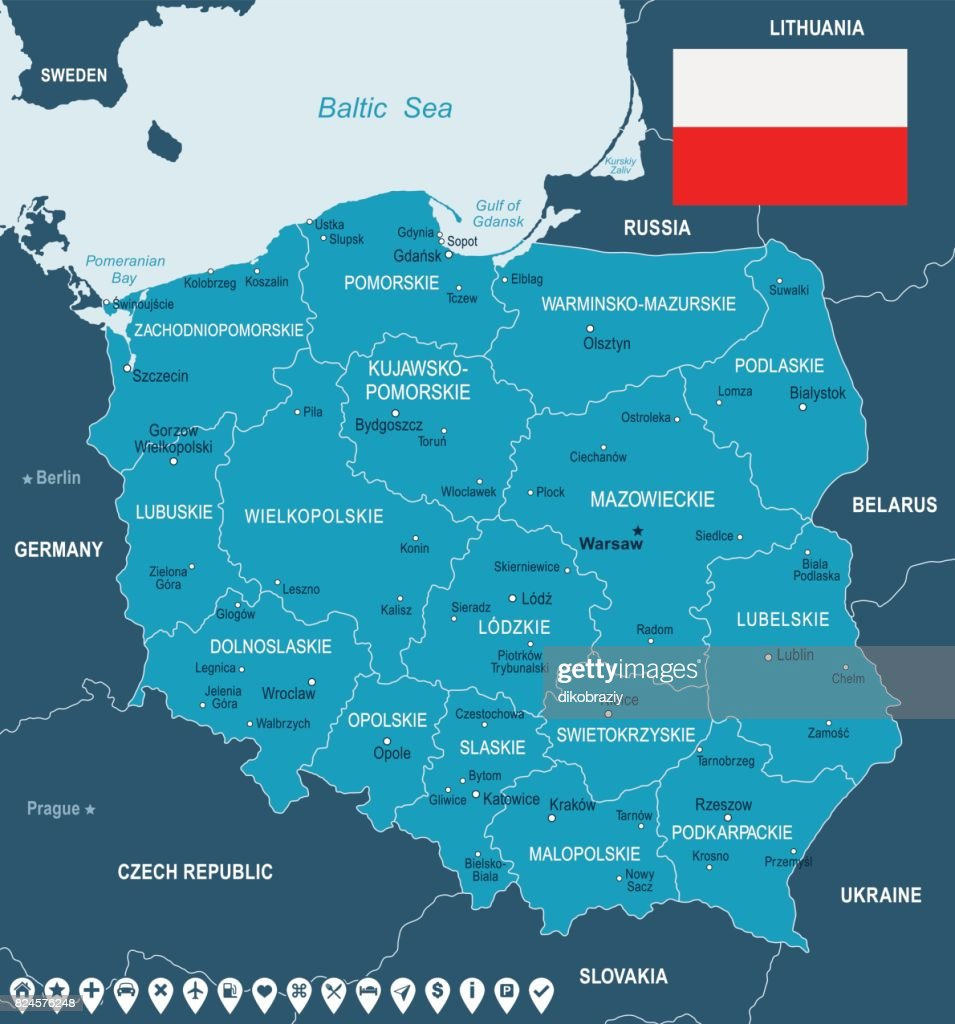 Poland Map And Flag Illustration Vector Art | Getty Images