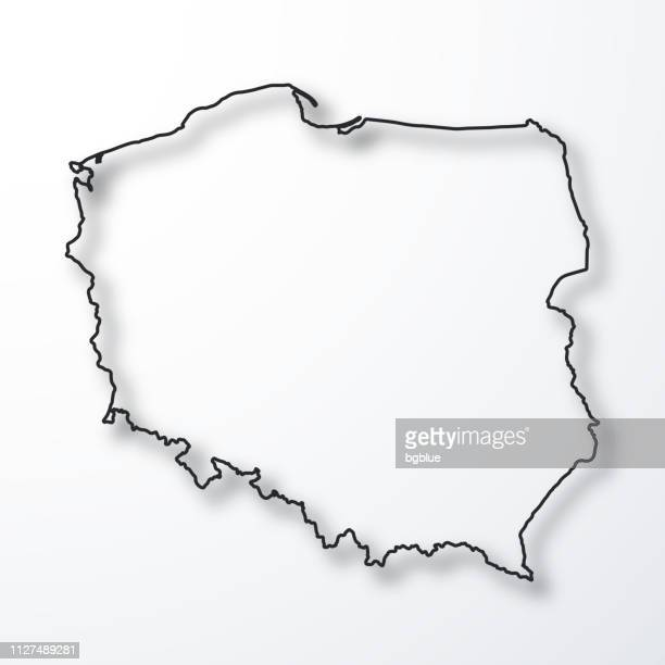 poland map - black outline with shadow on white background - poland stock illustrations