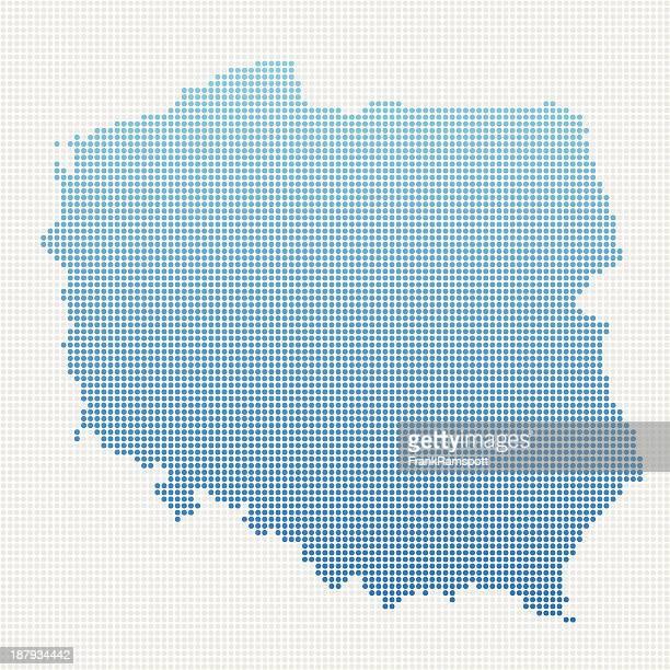 Poland Map Blue Dot Pattern