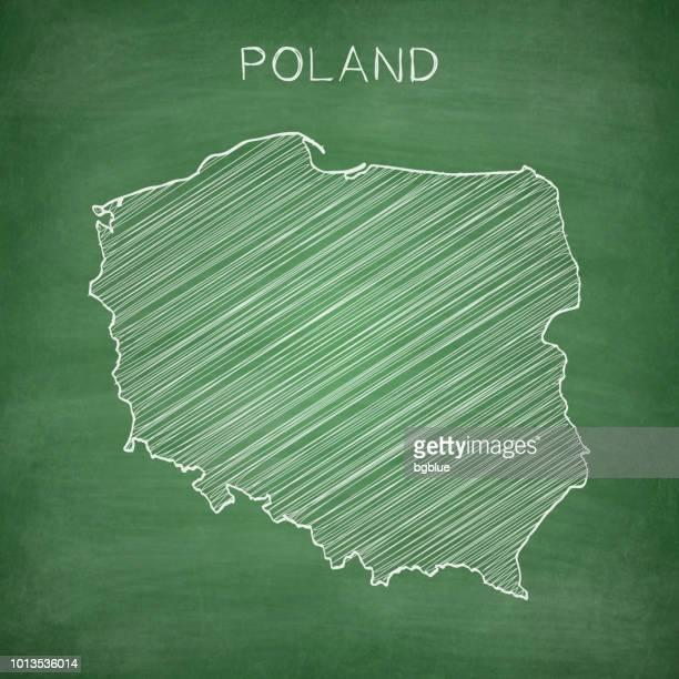 poland map drawn on chalkboard - blackboard - poland stock illustrations