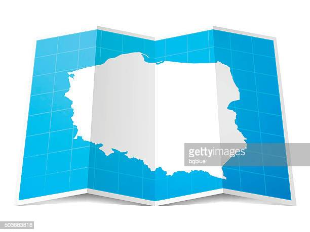 poland map folded, isolated on white background - poland stock illustrations