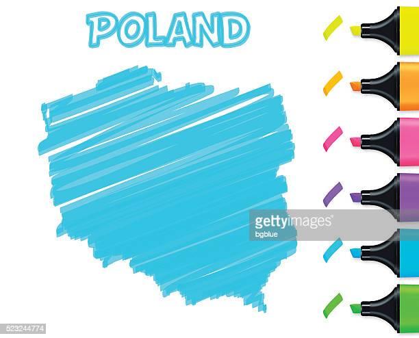 poland map hand drawn on white background, blue highlighter - poland stock illustrations