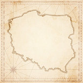 Poland map in retro vintage style - old textured paper