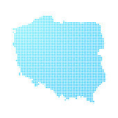 Poland map of blue dots on white background