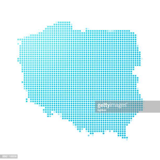 stockillustraties, clipart, cartoons en iconen met polen kaart van blauwe stippen op witte achtergrond - polen