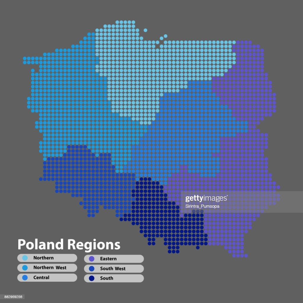 Poland Map of circle shape with the regions blue color in bright colors on white background. Vector illustration dotted style.