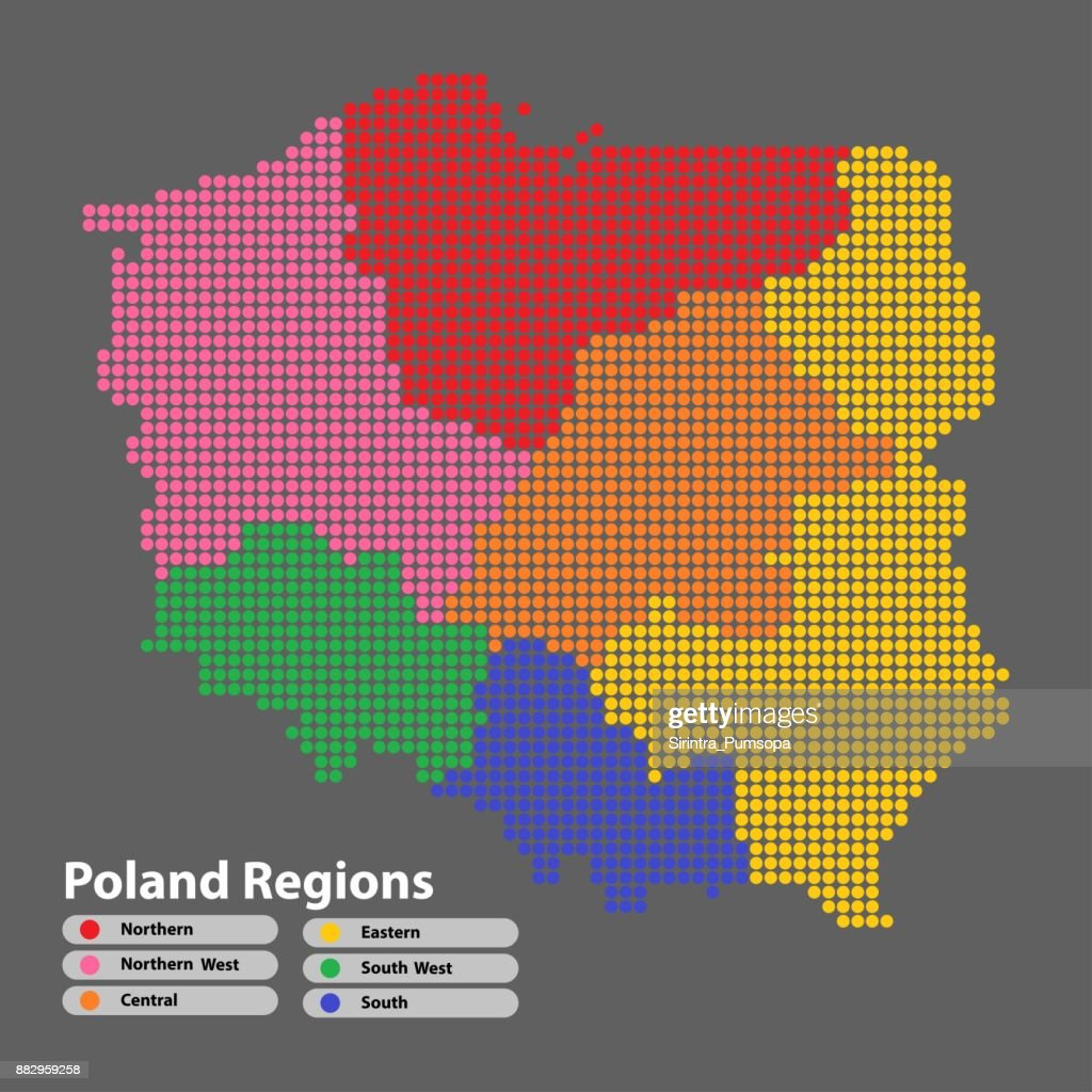 Poland Map of circle shape with the regions colorful in bright colors on white background. Vector illustration dotted style.