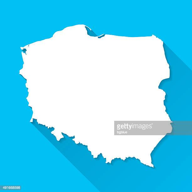 Poland Map on Blue Background, Long Shadow, Flat Design