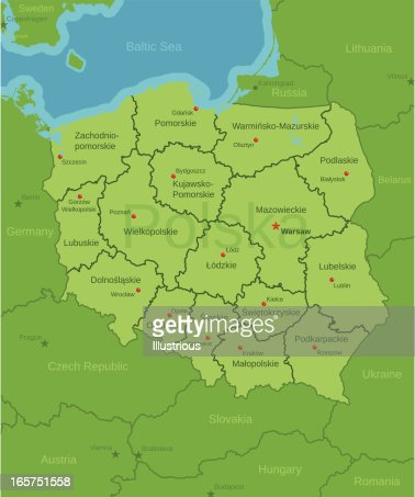 Poland map showing provinces vector art getty images gumiabroncs Choice Image