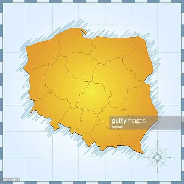 Poland map vintage