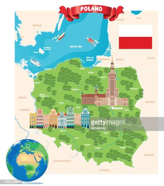 polnische karte,warschau, krakau, breslau, breslau, posen, danzig, stettin, bydgoszcz, lublin, kattowitz, - polen stock-grafiken, -clipart, -cartoons und -symbole